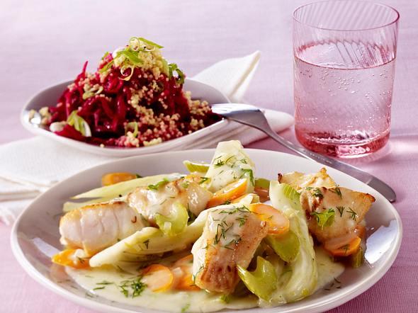 Fischgulasch zu Rote-Bete-Hirse-Salat Rezept