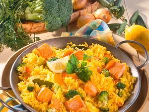Fischpfanne mit Gemüsereis Rezept