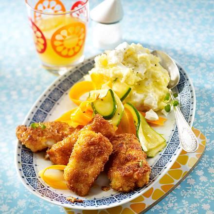 Fischstäbchen zu Kartoffel-Ziegenkäse-Püree Rezept