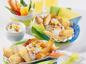 Fish & Chips mit Gemüsesticks Rezept