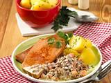 Fleischkäse mit Linsen-Käse-Gemüse Rezept
