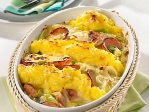 Fleischwurst-Kartoffelpüree-Auflauf Rezept