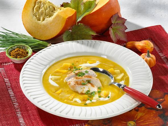 Frische Kürbis-Suppe mit Hähnchenfilet Rezept