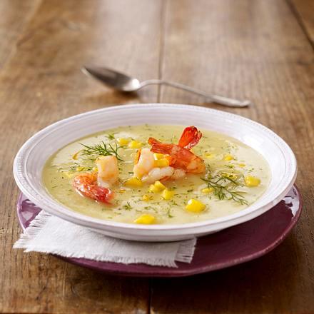 Fruchtige Kartoffel-Fenchel-Suppe mit Garnelen Rezept