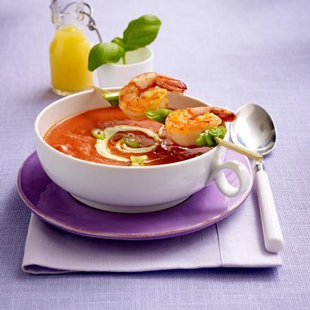 Fruchtige Tomatensuppe mit Garnelenspieß (Trennkost - Eiweiß) Rezept