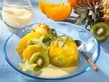 Fruchtpudding auf Vanillesoße Rezept