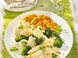 Frühlingsgemüse mit Kartoffel-Käse-Plätzchen Rezept