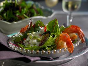 Garnelen auf Salat mit Avocadocreme Rezept