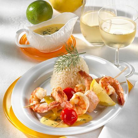 Garnelen-Lachs-Spieße mit Senfsoße Rezept