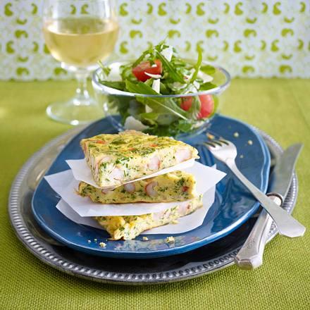 Garnelen-Omelett zu Rauke-Salat Rezept