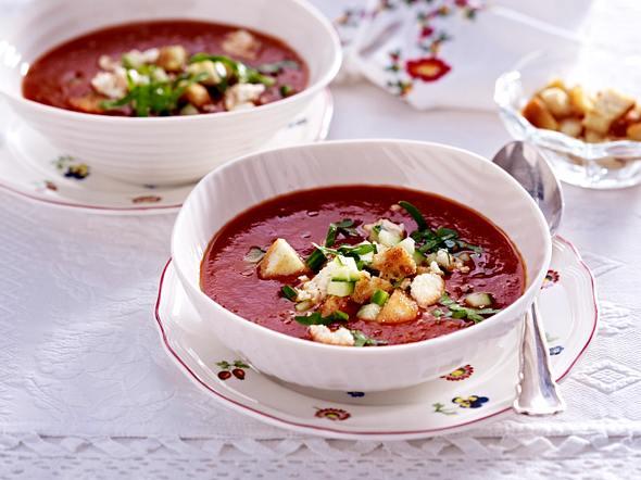 Gazpacho mit Gurke & Feta Rezept