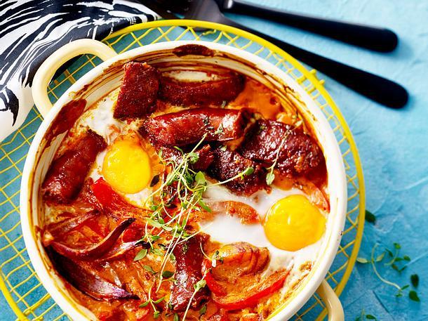 Gebackene Eier mit Paprika und Chorizo Rezept