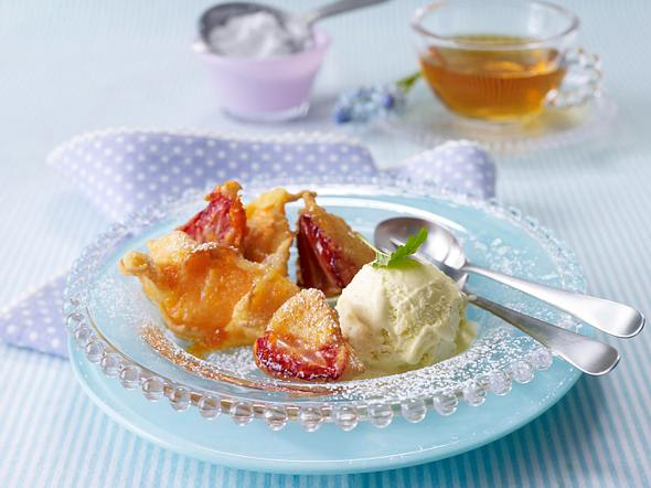 Gebackene Erdbeeren und Melonen mit Vanilleeis Rezept
