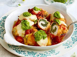 Gebackene Hähnchen-Rouladen mit Spinat-Mozzarella-Füllung Rezept