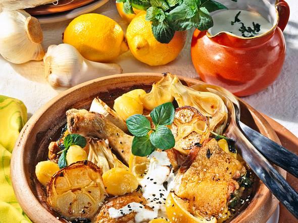 Gebackene Knoblauch-Hähnchenkeulen Rezept