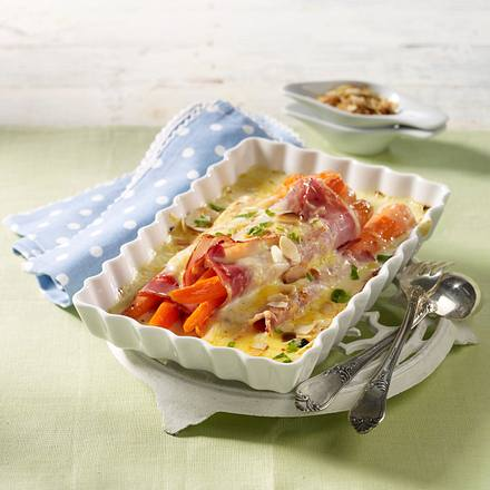 Gebackene Möhren-Schinken-Röllchen in Käsesoße Rezept