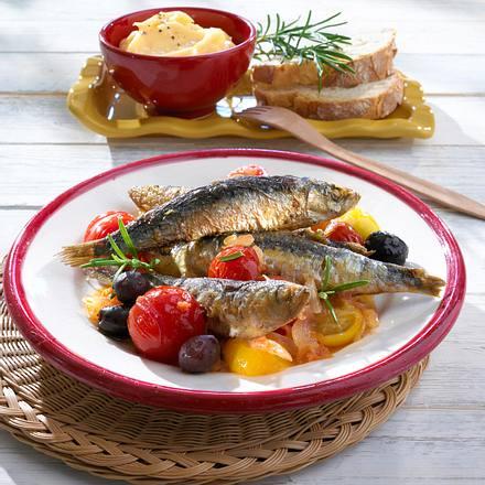Gebackene Sardinen mit geschmorten Tomaten Rezept