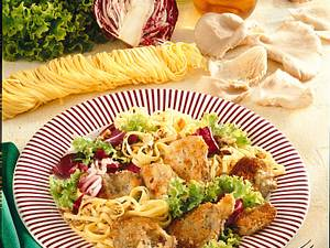 Gebratene Austernpilze mit Salat Rezept