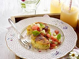 Gebratene Pistazien-Polenta mit Melonensalat Rezept