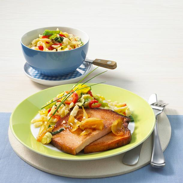 Gebratener Fleischkäse mit lauwarmem Spätzle-Salat Rezept