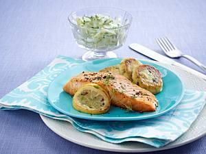 Gebratener Lachs mit Kartoffel-Lauch-Plätzchen Rezept