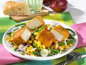 Gebratener Schafskäse mit Bohnensalat Rezept