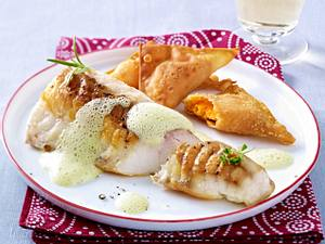 Gebratener Seeteufel mit Süßkartoffel Wan- Tan Rezept