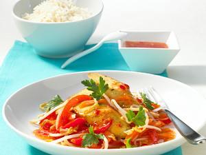 Gebratener Tofu auf Paprika-Sprossen-Gemüse Rezept