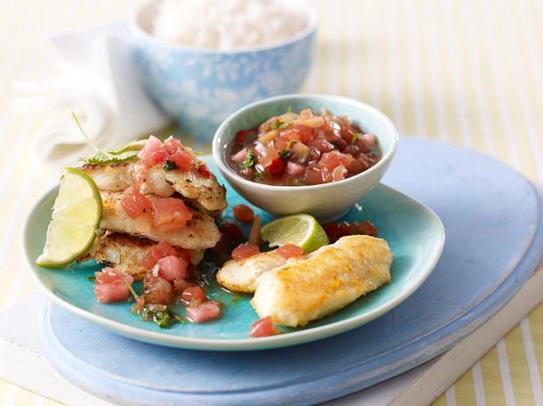 Gebratenes Fischfilet mit Wassermelonen-Koriander-Chili-Salsa Rezept
