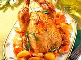 Gebratenes Hähnchen mit Möhren und Kartoffeln Rezept