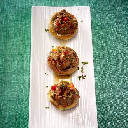 Gefüllte Champignons mit Spinat Rezept