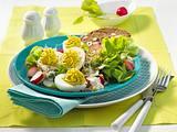 Gefüllte Eier auf Radieschen-Salat Rezept