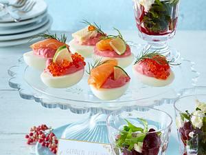 Gefüllte Eier und Rote-Bete-Salat mit Fetakäse Rezept