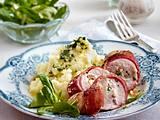 Gefüllte Hähnchenbrust im Schinkenmantel mit Kartoffel-Sellerie-Püree Rezept