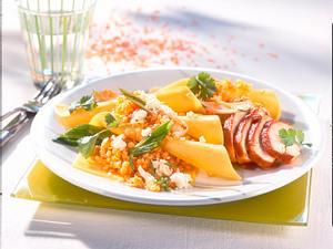 Gefüllte Lasagneblätter mit Linsengemüse zu Tandoorihähnchen Rezept