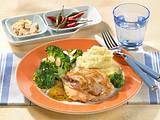 Gefüllte Minutensteaks zu Kartoffelpüree und Broccoli Rezept