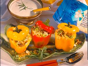 Gefüllte Paprika mit Rosmarin-Käsesoße Rezept