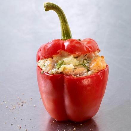 Gefüllte Paprikaschote mit Champignons, Zwiebel und Speck Rezept