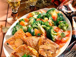 Gefüllte Putenschnitzel mit Broccoli-Möhren-Gemüse Rezept