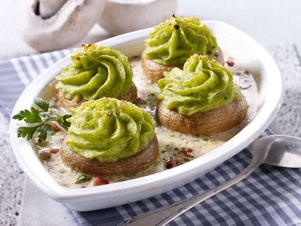 Gefüllte Riesenchampignons mit Broccoli-Püree Rezept