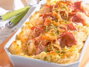 Gefüllte Schinkenröllchen auf Kartoffelpüree Rezept