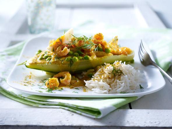Gefüllte Schmorgurken mit Shrimps-Eier-Curry Rezept