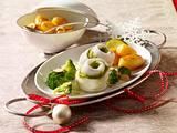 Gefüllte Schollenröllchen mit Mandelbroccoli Rezept