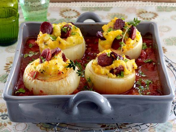 Gefüllte Zwiebeln mit Chorizo-Kartoffelpüree Rezept