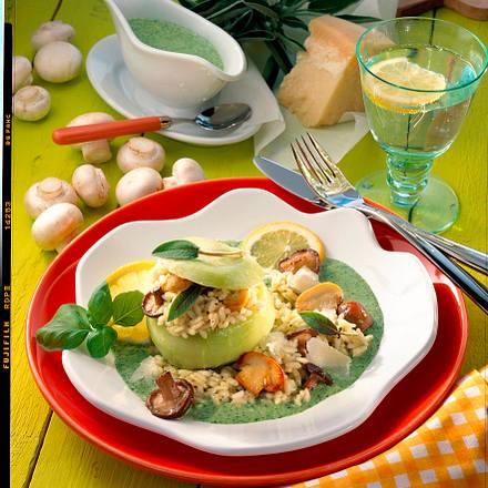 Gefüllter Kohlrabi mit Pilz-Risotto Rezept