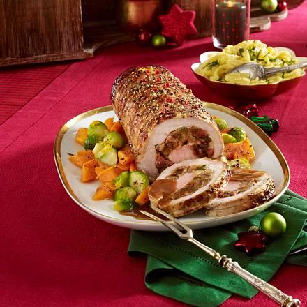 Gefüllter Schweinerollbraten mit Rosenkohl-Möhrengemüse und Spätzle Rezept