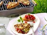 Gegrillte Putenschnitzel mit Zucchini-Schinken-Füllung Rezept
