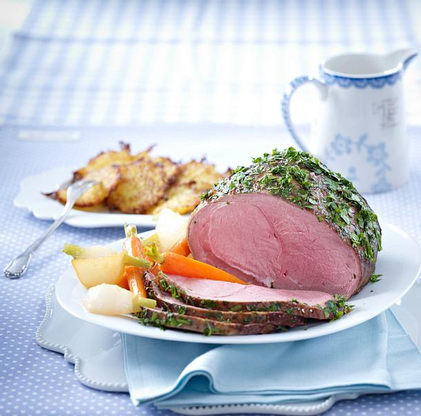 Gekräuterte Kalbsnuss zu Kartoffelrösti und Frühlingsgemüse Rezept