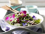Gemischter Gartensalat mit Rucola-Dressing und bunten Blüten Rezept