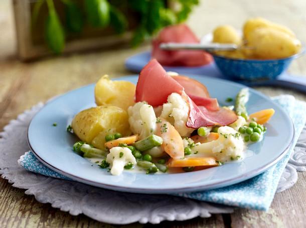 Gemüse in Béchamelsoße zu Katenschinken Rezept